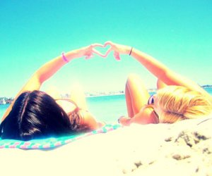 heart, beach, and summer image