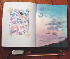 art, sky, and drawing image