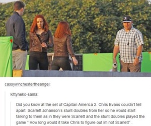 chris evans, funny, and Scarlett Johansson image