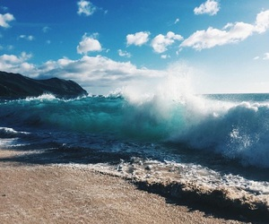 beach, summer, and waves image