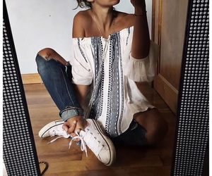 blouse, converse, and jeans image