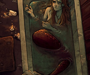 mermaid, art, and candle image