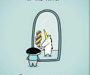 unicorn, mirror, and badass image