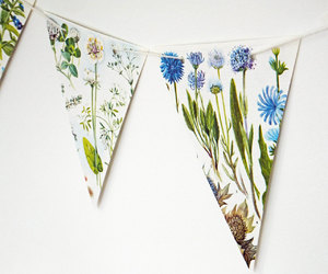 blue flowers, bunting, and etsy image