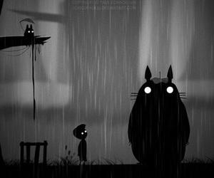 totoro, black and white, and limbo image