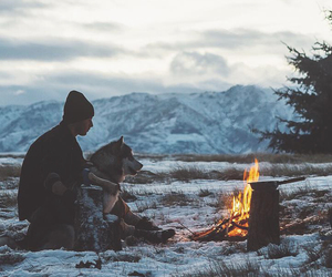 dog, fire, and mountains image