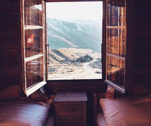 room, bed, and mountains image