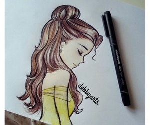 drawing, disney, and belle image