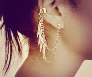 earrings, gril, and piercing image