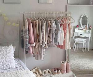 bedroom, pink, and clothes image