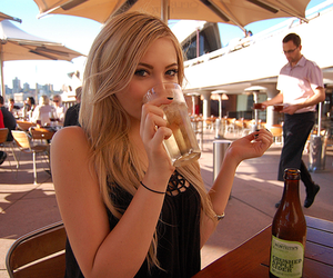 girl, blonde, and drink image