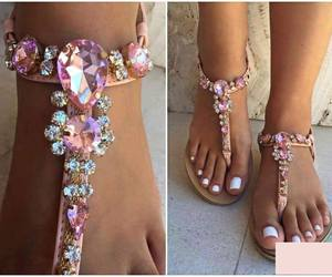 pink, sandals, and shoes image