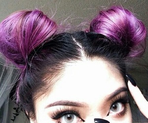 hair, eyes, and purple image