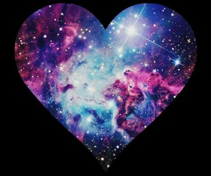 galaxy, heart, and blue image