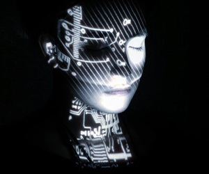 artificial intelligence, face, and cyberpunk image