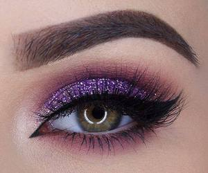 makeup, eyes, and purple image
