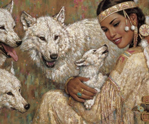 art, wolves, and native americans image