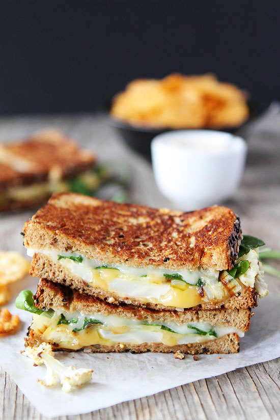 cauliflower, grilled cheese, and sandwich image