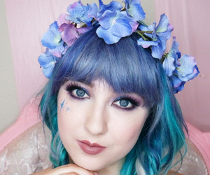 bangs, blue, and pink image