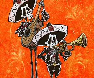 guitar, mexican, and skeleton image