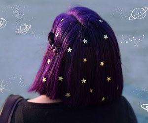 hair, purple, and stars image