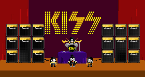 kiss, pixel art, and music image