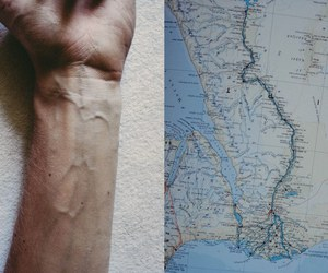 map, veins, and hand image