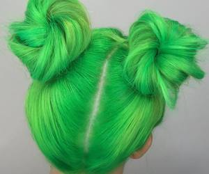 green, hair, and buns image