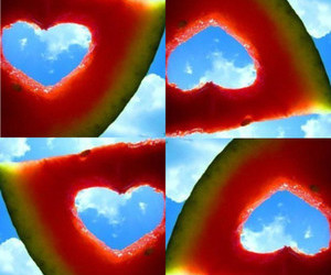 watermelon, summer, and heart image