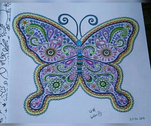 butterfly, colors, and crayon image