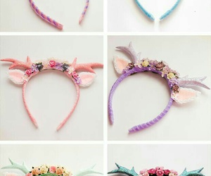 unicorn, headband, and kawaii image