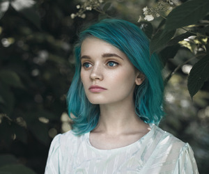 blue, girl, and green image