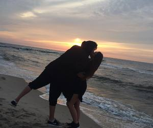 couple, beach, and kiss image