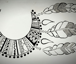 blackandwhite, draw, and dreamcatcher image