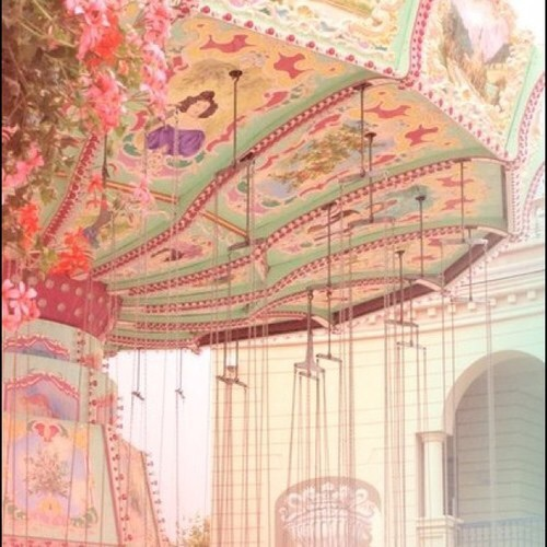 carousel, pink, and pastel image
