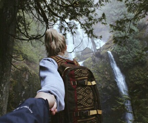 couple, nature, and adventure image