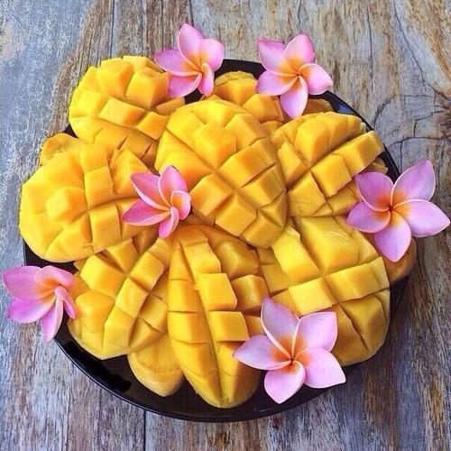 fruit, mango, and flowers image