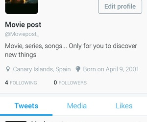 account, posts, and movie image