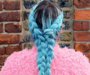 blue, ombre, and braid image