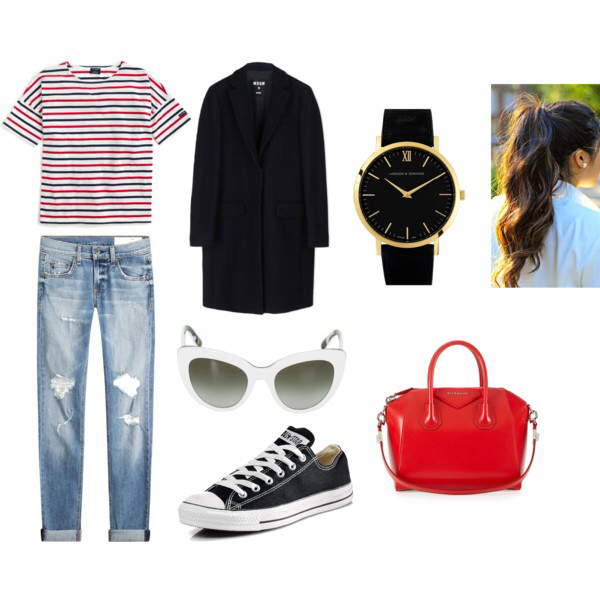 bag, clock, and clothes image