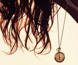 girl, necklace, and pocket watch image
