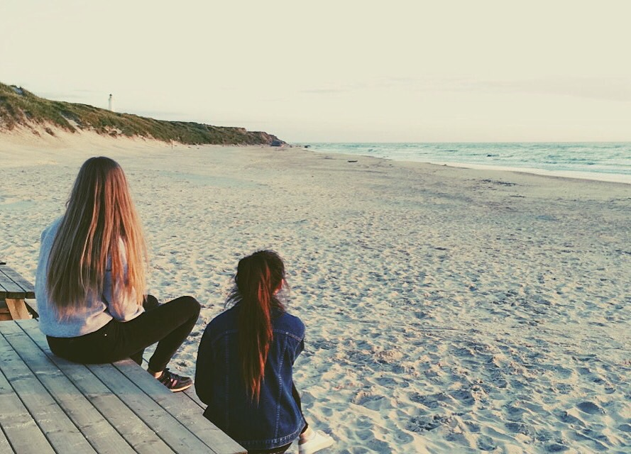 beach, bench, and bff image