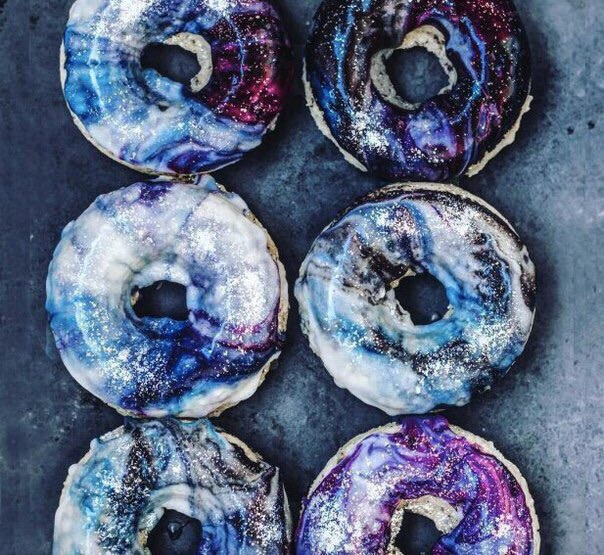 donuts, galaxy, and food image
