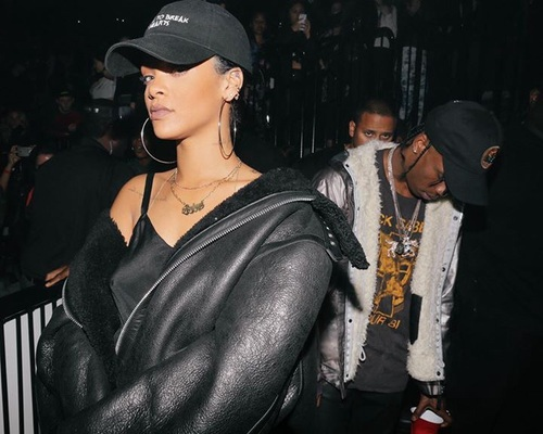 rihanna, black, and travis scott image