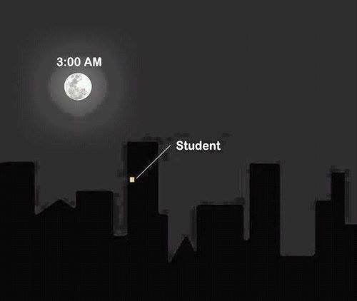 student, night, and school image