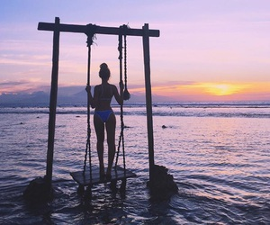 sunset, summer, and girl image