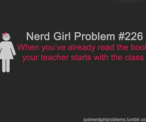 fangirl, nerd girl problems, and book image