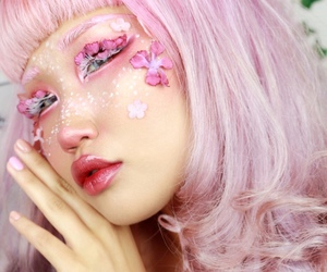 colored hair, cosmetics, and flowers image
