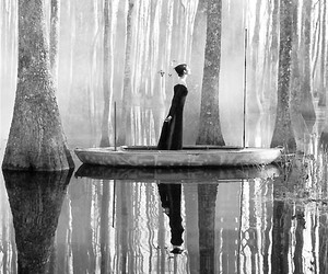 black and white, woman, and boat image