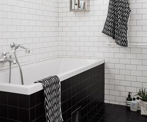 bathroom, black and white, and interior image